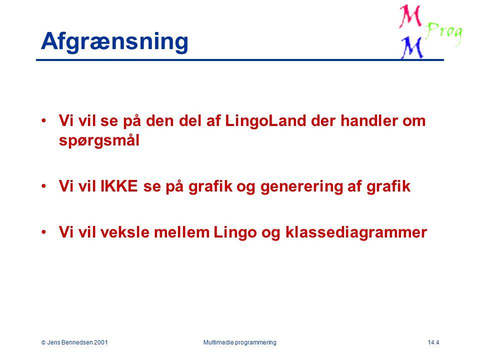  Jens Bennedsen 2001Multimedie programmering14.4 Afgrænsning Vi vil se på den del af LingoLand der handler om spørgsmål Vi vil IKKE se på grafik og generering af grafik Vi vil veksle mellem Lingo og klassediagrammer