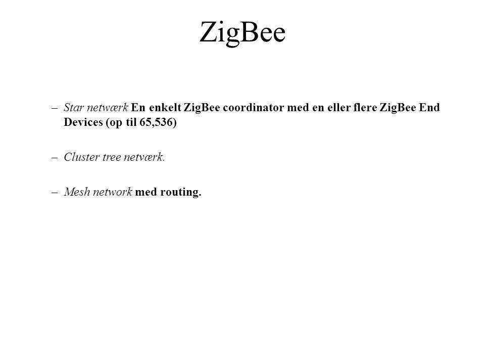 –Star netwærk En enkelt ZigBee coordinator med en eller flere ZigBee End Devices (op til 65,536) –Cluster tree netværk.