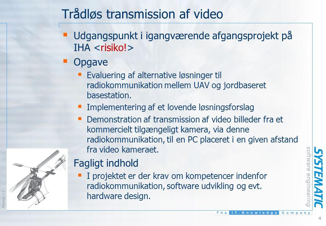 $Revision: 1.3 $ 4 Trådløs transmission af video  Udgangspunkt i igangværende afgangsprojekt på IHA  Opgave  Evaluering af alternative løsninger til radiokommunikation mellem UAV og jordbaseret basestation.