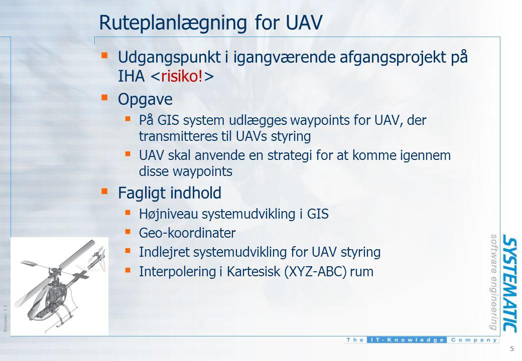 $Revision: 1.3 $ 5 Ruteplanlægning for UAV  Udgangspunkt i igangværende afgangsprojekt på IHA  Opgave  På GIS system udlægges waypoints for UAV, der transmitteres til UAVs styring  UAV skal anvende en strategi for at komme igennem disse waypoints  Fagligt indhold  Højniveau systemudvikling i GIS  Geo-koordinater  Indlejret systemudvikling for UAV styring  Interpolering i Kartesisk (XYZ-ABC) rum