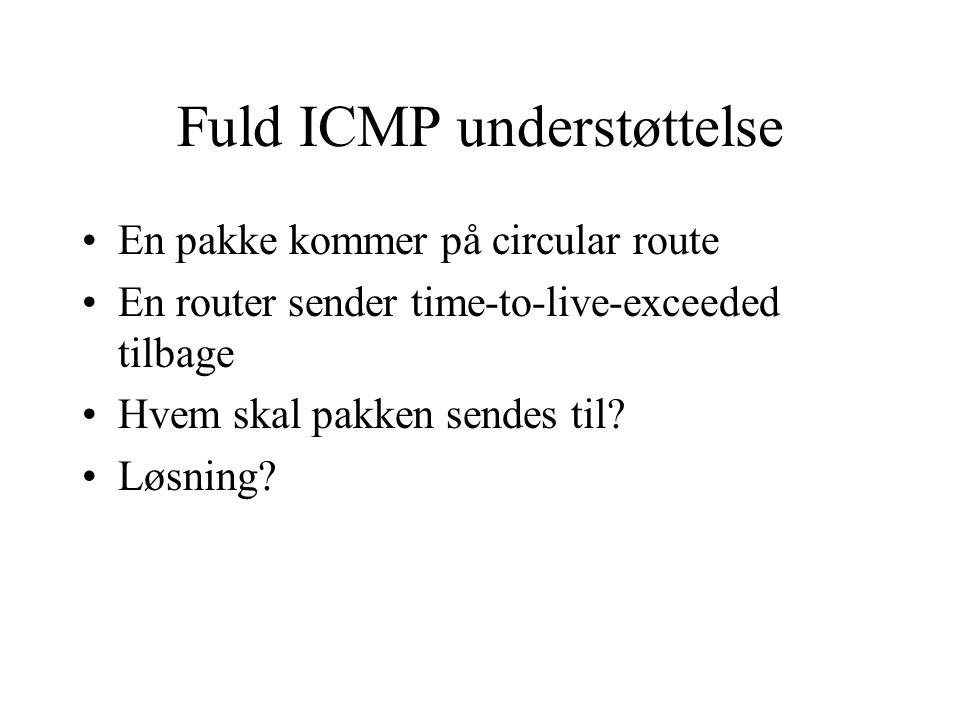 Fuld ICMP understøttelse En pakke kommer på circular route En router sender time-to-live-exceeded tilbage Hvem skal pakken sendes til.
