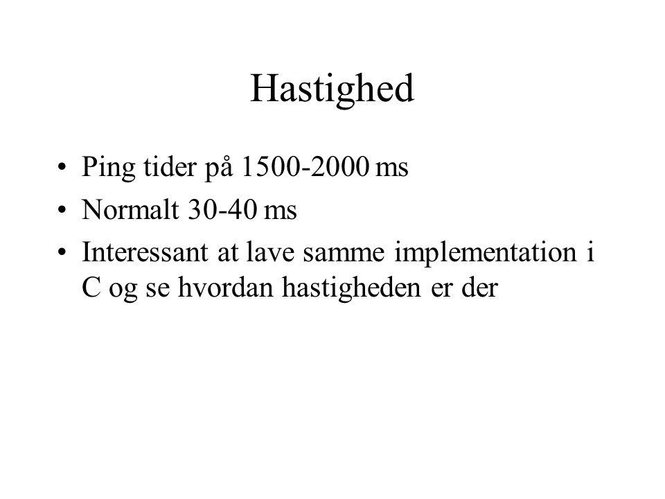 Hastighed Ping tider på 1500-2000 ms Normalt 30-40 ms Interessant at lave samme implementation i C og se hvordan hastigheden er der