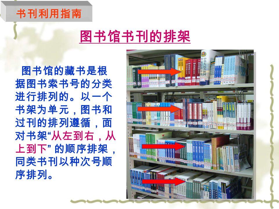 什么是索书号?  索书号又称为排架号,表明馆藏中的某一文 献的排架位置以便提取和归架的一套编号。  索书号粘贴于书脊的下端,由分类号和种次 号组成。(如: G206.2/9 ) 分 类 号 分 类 号 种 次 号 种 次 号 书刊利用指南