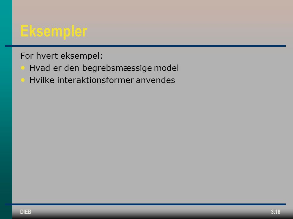 DIEB3.18 Eksempler For hvert eksempel: Hvad er den begrebsmæssige model Hvilke interaktionsformer anvendes