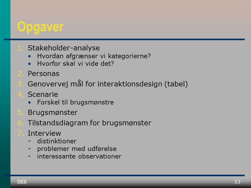 DIEB3.3 Opgaver 1.Stakeholder-analyse Hvordan afgrænser vi kategorierne.