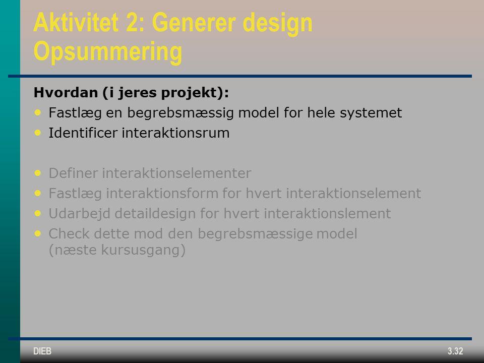 DIEB3.32 Aktivitet 2: Generer design Opsummering Hvordan (i jeres projekt): Fastlæg en begrebsmæssig model for hele systemet Identificer interaktionsrum Definer interaktionselementer Fastlæg interaktionsform for hvert interaktionselement Udarbejd detaildesign for hvert interaktionslement Check dette mod den begrebsmæssige model (næste kursusgang)