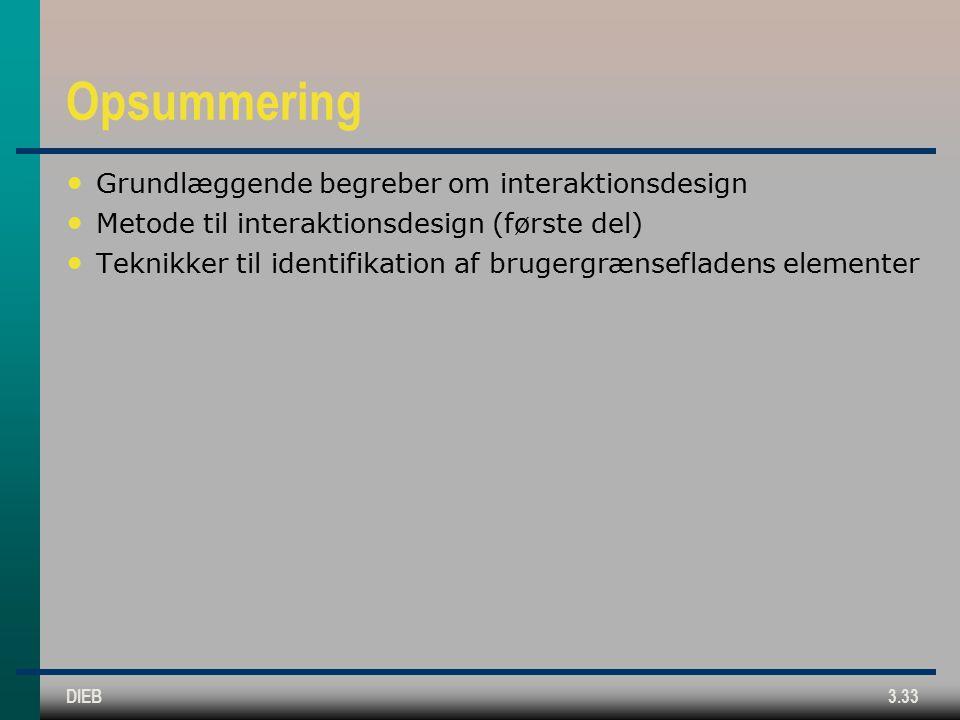 DIEB3.33 Opsummering Grundlæggende begreber om interaktionsdesign Metode til interaktionsdesign (første del) Teknikker til identifikation af brugergrænsefladens elementer