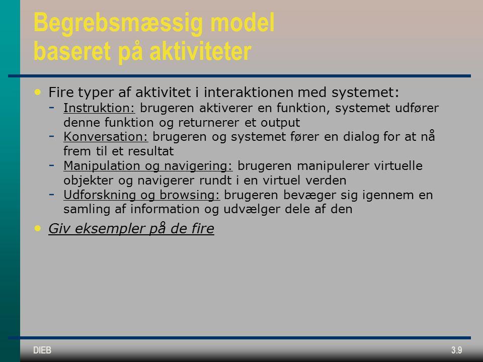 DIEB3.9 Begrebsmæssig model baseret på aktiviteter Fire typer af aktivitet i interaktionen med systemet:  Instruktion: brugeren aktiverer en funktion, systemet udfører denne funktion og returnerer et output  Konversation: brugeren og systemet fører en dialog for at nå frem til et resultat  Manipulation og navigering: brugeren manipulerer virtuelle objekter og navigerer rundt i en virtuel verden  Udforskning og browsing: brugeren bevæger sig igennem en samling af information og udvælger dele af den Giv eksempler på de fire
