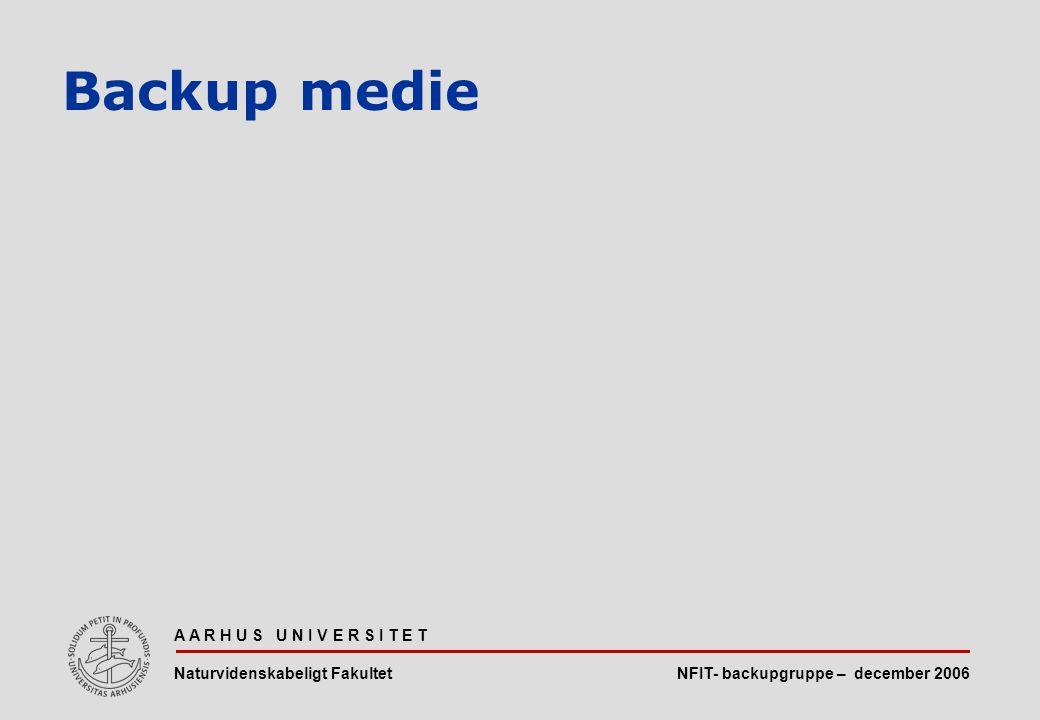 NFIT- backupgruppe – december 2006 A A R H U S U N I V E R S I T E T Naturvidenskabeligt Fakultet Backup medie