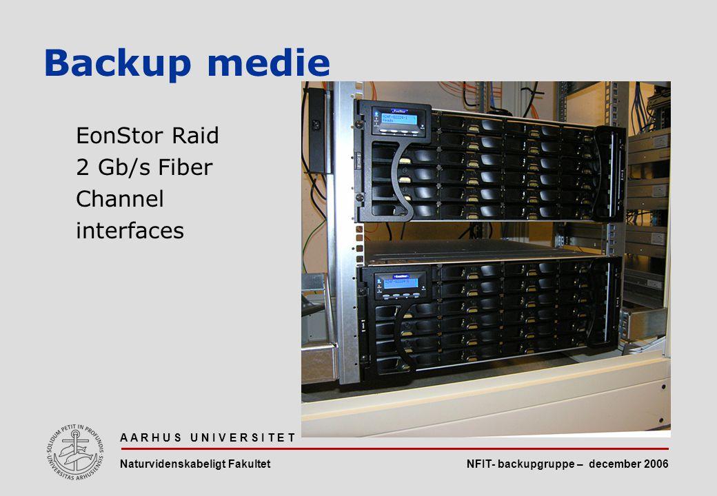 NFIT- backupgruppe – december 2006 A A R H U S U N I V E R S I T E T Naturvidenskabeligt Fakultet EonStor Raid 2 Gb/s Fiber Channel interfaces Backup medie