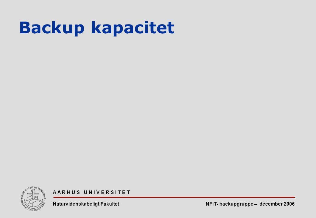 NFIT- backupgruppe – december 2006 A A R H U S U N I V E R S I T E T Naturvidenskabeligt Fakultet Backup kapacitet