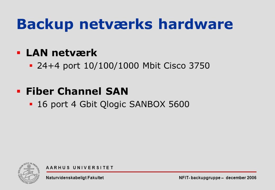NFIT- backupgruppe – december 2006 A A R H U S U N I V E R S I T E T Naturvidenskabeligt Fakultet  LAN netværk  24+4 port 10/100/1000 Mbit Cisco 3750  Fiber Channel SAN  16 port 4 Gbit Qlogic SANBOX 5600 Backup netværks hardware