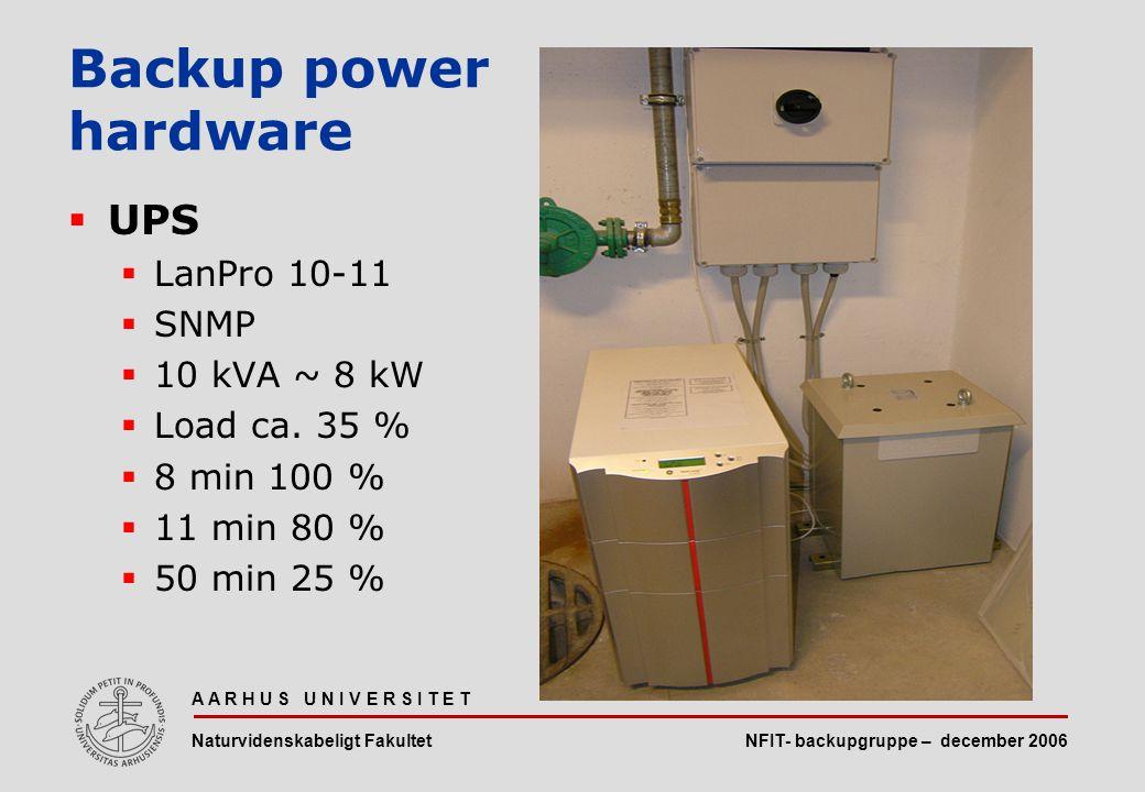 NFIT- backupgruppe – december 2006 A A R H U S U N I V E R S I T E T Naturvidenskabeligt Fakultet  UPS  LanPro 10-11  SNMP  10 kVA ~ 8 kW  Load ca.