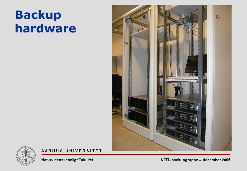 NFIT- backupgruppe – december 2006 A A R H U S U N I V E R S I T E T Naturvidenskabeligt Fakultet Backup hardware