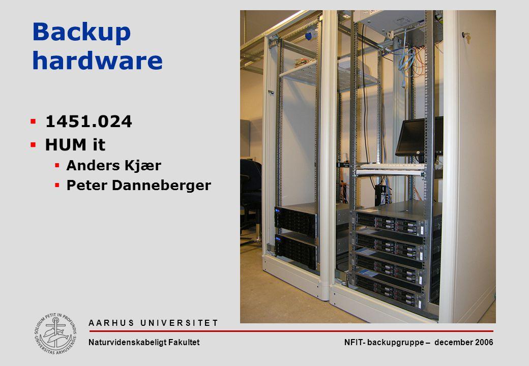 NFIT- backupgruppe – december 2006 A A R H U S U N I V E R S I T E T Naturvidenskabeligt Fakultet  1451.024  HUM it  Anders Kjær  Peter Danneberger Backup hardware
