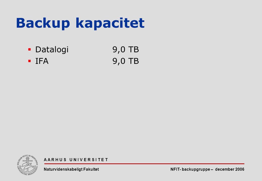NFIT- backupgruppe – december 2006 A A R H U S U N I V E R S I T E T Naturvidenskabeligt Fakultet  Datalogi9,0 TB  IFA9,0 TB Backup kapacitet
