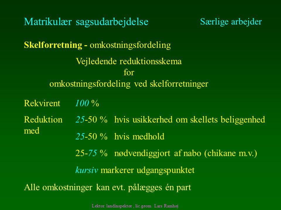 Matrikulær sagsudarbejdelse Særlige arbejder Skelforretning - omkostningsfordeling Rekvirent 100 % Vejledende reduktionsskema for omkostningsfordeling ved skelforretninger Lektor.