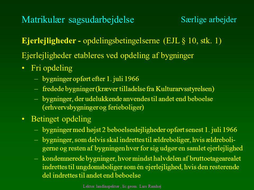 Matrikulær sagsudarbejdelse Fri opdeling –bygninger opført efter 1.