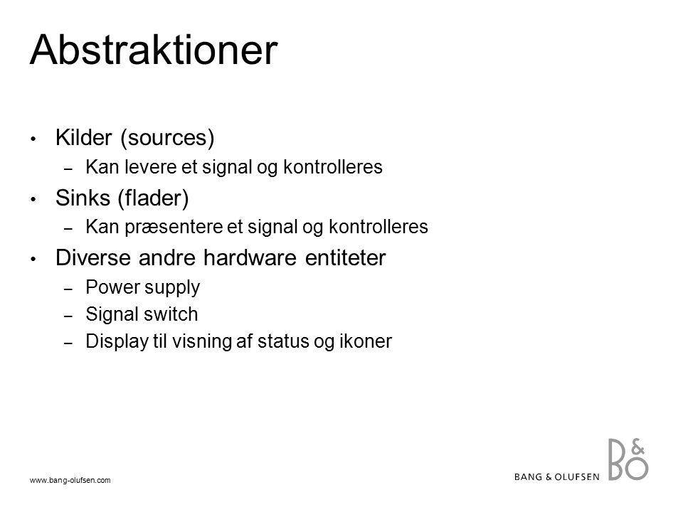 www.bang-olufsen.com Abstraktioner Kilder (sources) – Kan levere et signal og kontrolleres Sinks (flader) – Kan præsentere et signal og kontrolleres Diverse andre hardware entiteter – Power supply – Signal switch – Display til visning af status og ikoner