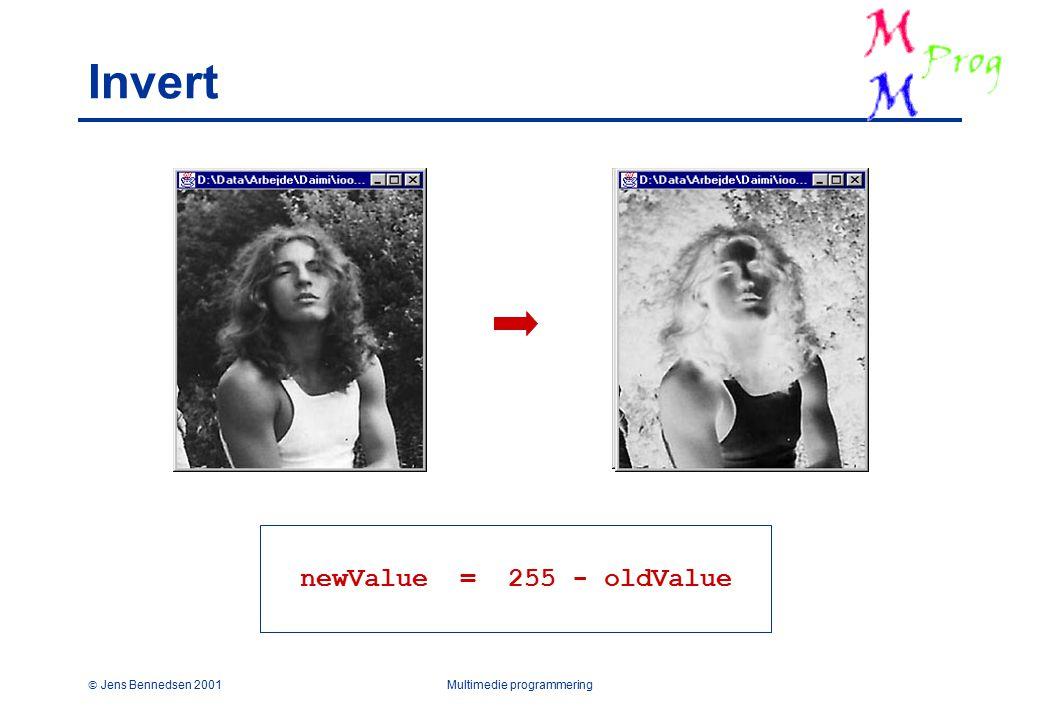  Jens Bennedsen 2001Multimedie programmering Invert newValue = 255 - oldValue