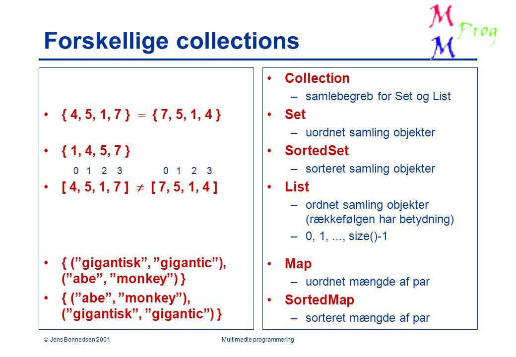  Jens Bennedsen 2001Multimedie programmering Forskellige collections { 4, 5, 1, 7 }  { 7, 5, 1, 4 } { 1, 4, 5, 7 } [ 4, 5, 1, 7 ]  [ 7, 5, 1, 4 ] { ( gigantisk , gigantic ), ( abe , monkey ) } { ( abe , monkey ), ( gigantisk , gigantic ) } Collection –samlebegreb for Set og List Set –uordnet samling objekter SortedSet –sorteret samling objekter List –ordnet samling objekter (rækkefølgen har betydning) –0, 1,..., size()-1 Map –uordnet mængde af par SortedMap –sorteret mængde af par 0 1 2 3