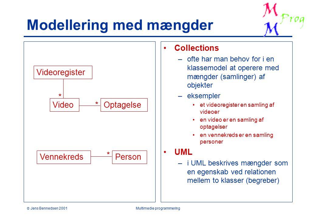  Jens Bennedsen 2001Multimedie programmering Modellering med mængder Collections –ofte har man behov for i en klassemodel at operere med mængder (samlinger) af objekter –eksempler et videoregister en samling af videoer en video er en samling af optagelser en vennekreds er en samling personer UML –i UML beskrives mængder som en egenskab ved relationen mellem to klasser (begreber) VideoOptagelse VennekredsPerson * * Videoregister *