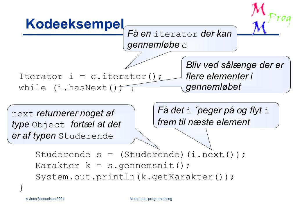  Jens Bennedsen 2001Multimedie programmering Kodeeksempel Iterator i = c.iterator(); while (i.hasNext()) { Studerende s = (Studerende)(i.next()); Karakter k = s.gennemsnit(); System.out.println(k.getKarakter()); } Få en iterator der kan gennemløbe c Bliv ved sålænge der er flere elementer i gennemløbet Få det i ´peger på og flyt i frem til næste element next returnerer noget af type Object fortæl at det er af typen Studerende