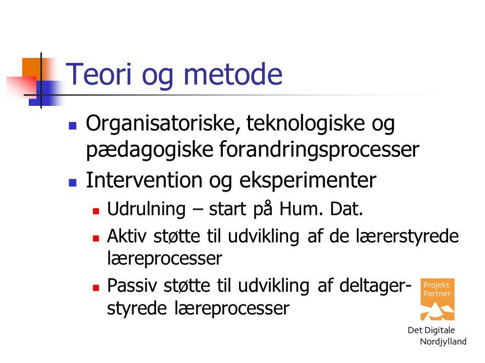 Teori og metode Organisatoriske, teknologiske og pædagogiske forandringsprocesser Intervention og eksperimenter Udrulning – start på Hum.