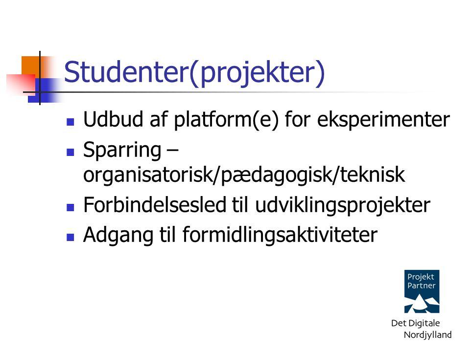 Studenter(projekter) Udbud af platform(e) for eksperimenter Sparring – organisatorisk/pædagogisk/teknisk Forbindelsesled til udviklingsprojekter Adgang til formidlingsaktiviteter