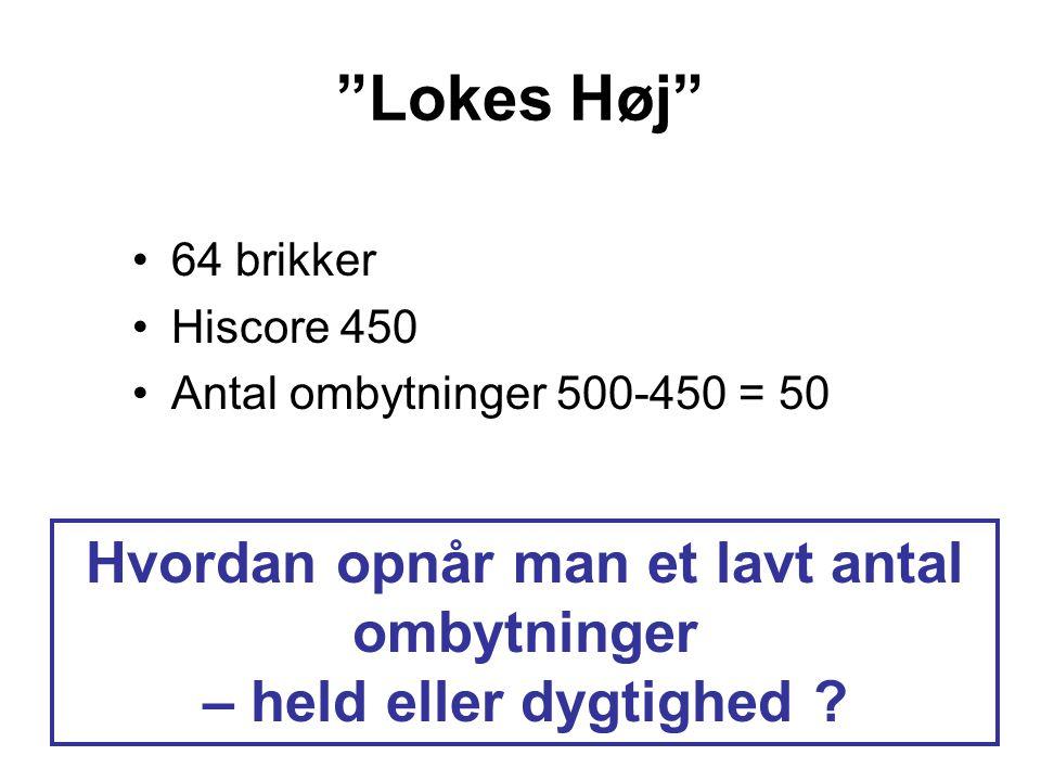 Lokes Høj 64 brikker Hiscore 450 Antal ombytninger 500-450 = 50 Hvordan opnår man et lavt antal ombytninger – held eller dygtighed