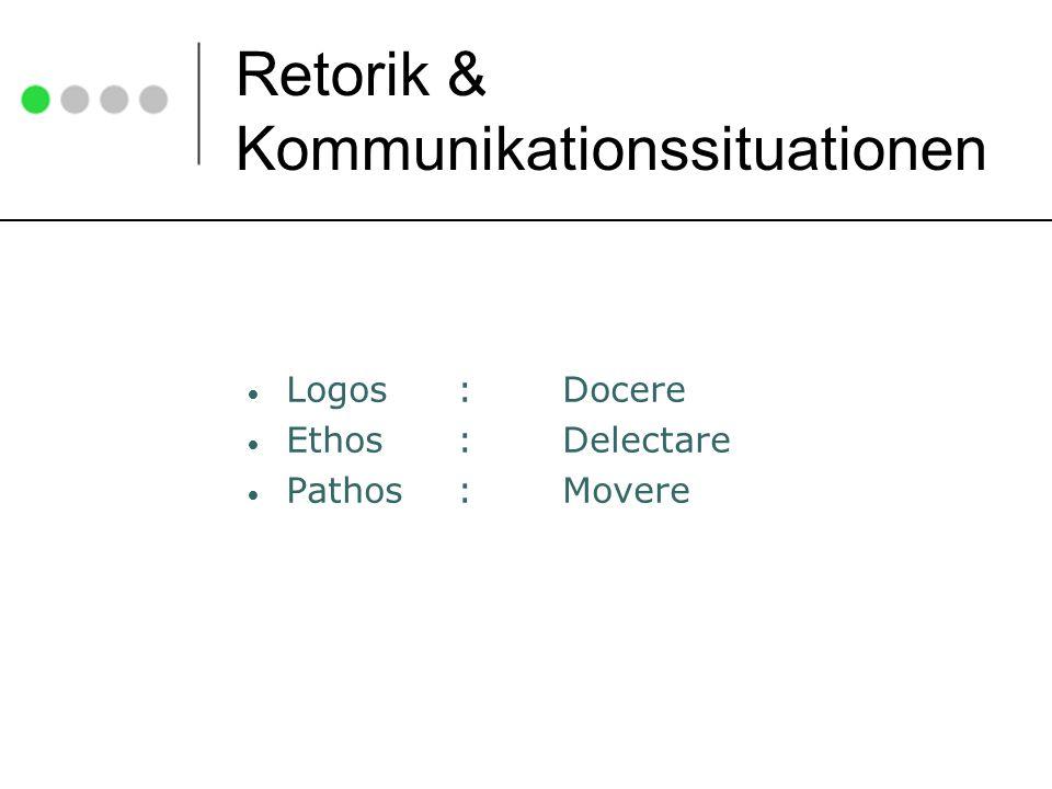 Retorik & Kommunikationssituationen Logos :Docere Ethos:Delectare Pathos :Movere