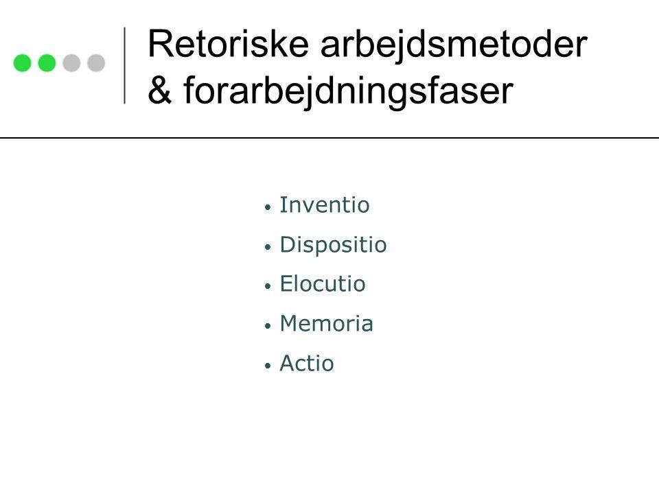 Retoriske arbejdsmetoder & forarbejdningsfaser Inventio Dispositio Elocutio Memoria Actio