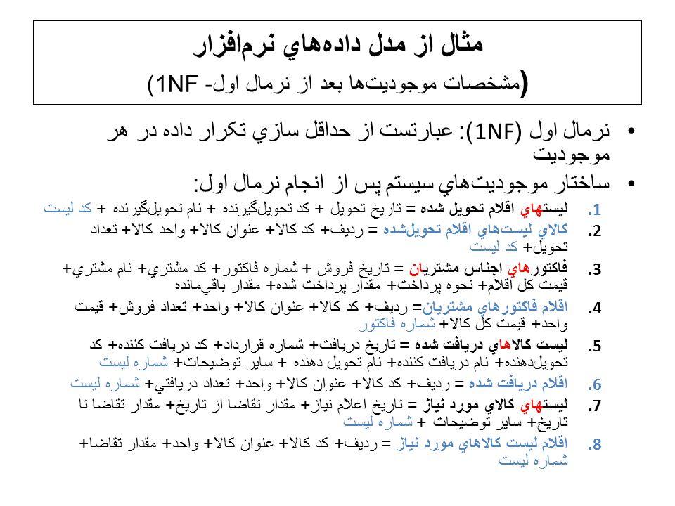مثال از مدل دادههاي نرمافزار ( مشخصات موجوديتها بعد از نرمال اول- 1NF) نرمال اول (1NF): عبارتست از حداقل سازي تکرار داده در هر موجوديت ساختار موجوديت  هاي سيستم پس از انجام نرمال اول : 1.