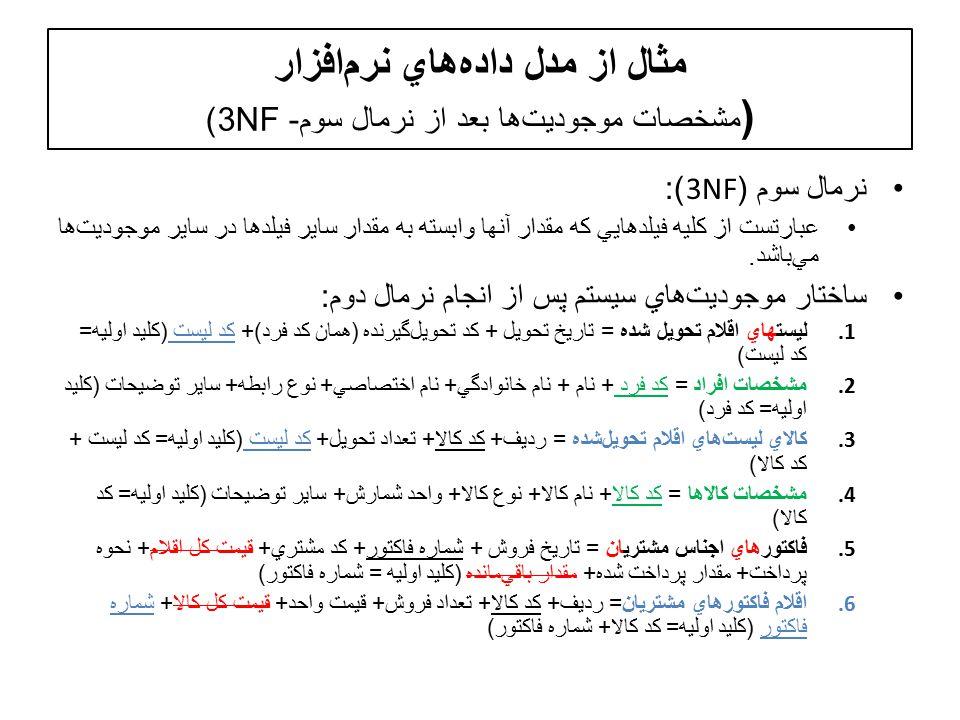 مثال از مدل دادههاي نرمافزار ( مشخصات موجوديتها بعد از نرمال سوم- 3NF) نرمال سوم (3NF): عبارتست از کليه فيلدهايي که مقدار آنها وابسته به مقدار ساير فيلدها در ساير موجوديت  ها مي  باشد.