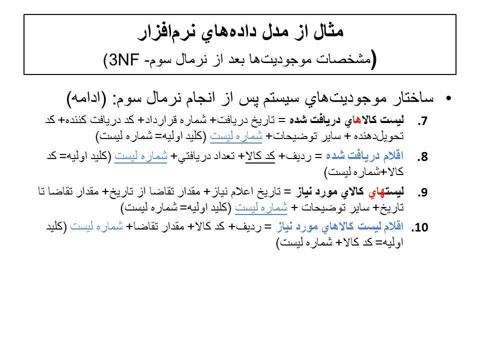 مثال از مدل دادههاي نرمافزار ( مشخصات موجوديتها بعد از نرمال سوم- 3NF) ساختار موجوديت  هاي سيستم پس از انجام نرمال سوم : ( ادامه ) 7.