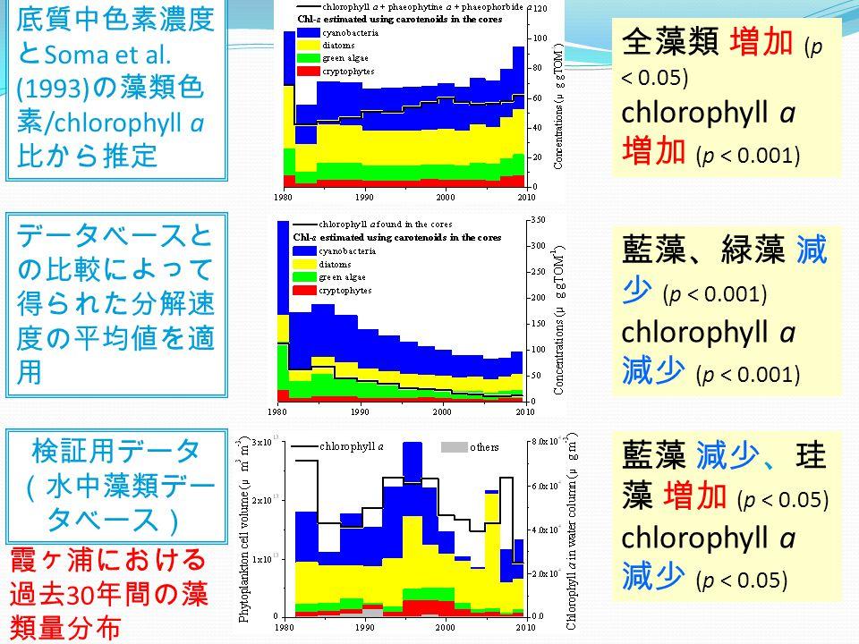 データベースと の比較によって 得られた分解速 度の平均値を適 用 全藻類 増加 (p < 0.05) chlorophyll a 増加 (p < 0.001) 藍藻 減少、珪 藻 増加 (p < 0.05) chlorophyll a 減少 (p < 0.05) 藍藻、緑藻 減 少 (p < 0.001) chlorophyll a 減少 (p < 0.001) 霞ヶ浦における 過去 30 年間の藻 類量分布 検証用データ (水中藻類デー タベース) 底質中色素濃度 と Soma et al.