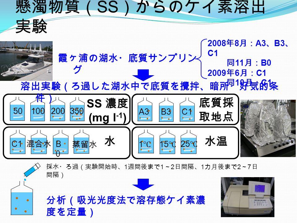 懸濁物質( SS )からのケイ素溶出 実験 水温 底質採 取地点 A3B3C1 水 B0B0 蒸留水 1℃1℃ 15 ℃ 25 ℃ SS 濃度 (mg l -1 ) 50200100350 霞ヶ浦の湖水・底質サンプリン グ 溶出実験(ろ過した湖水中で底質を攪拌、暗所・好気的条 件) 2008 年 8 月: A3 、 B3 、 C1 同 11 月: B0 2009 年 6 月: C1 同 10 月: C1 採水・ろ過(実験開始時、 1 週間後まで 1 ~ 2 日間隔、 1 カ月後まで 2 ~ 7 日 間隔) 分析(吸光光度法で溶存態ケイ素濃 度を定量) 混合水