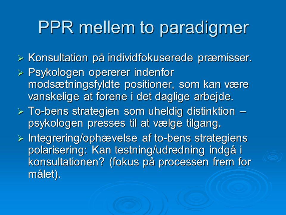 PPR mellem to paradigmer  Konsultation på individfokuserede præmisser.
