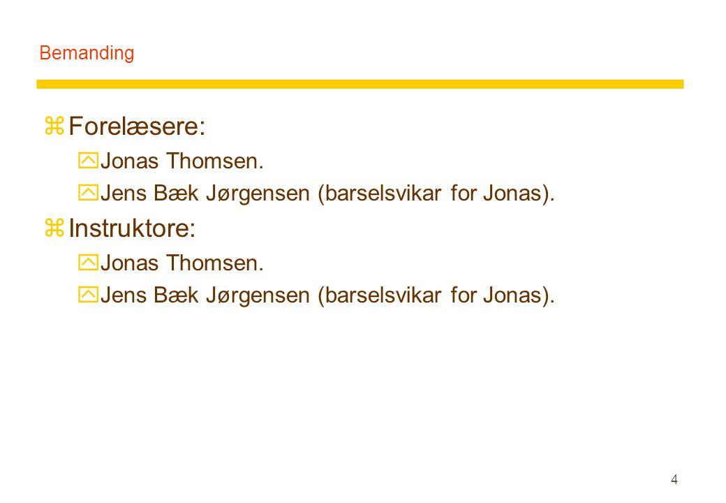4 Bemanding zForelæsere: yJonas Thomsen. yJens Bæk Jørgensen (barselsvikar for Jonas).