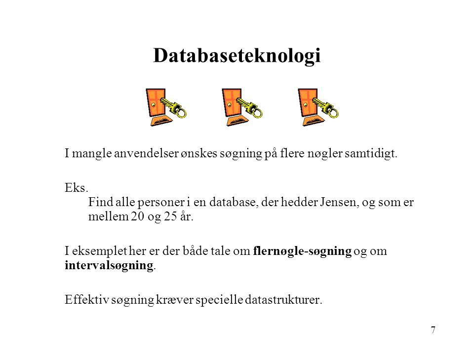 7 Databaseteknologi I mangle anvendelser ønskes søgning på flere nøgler samtidigt.