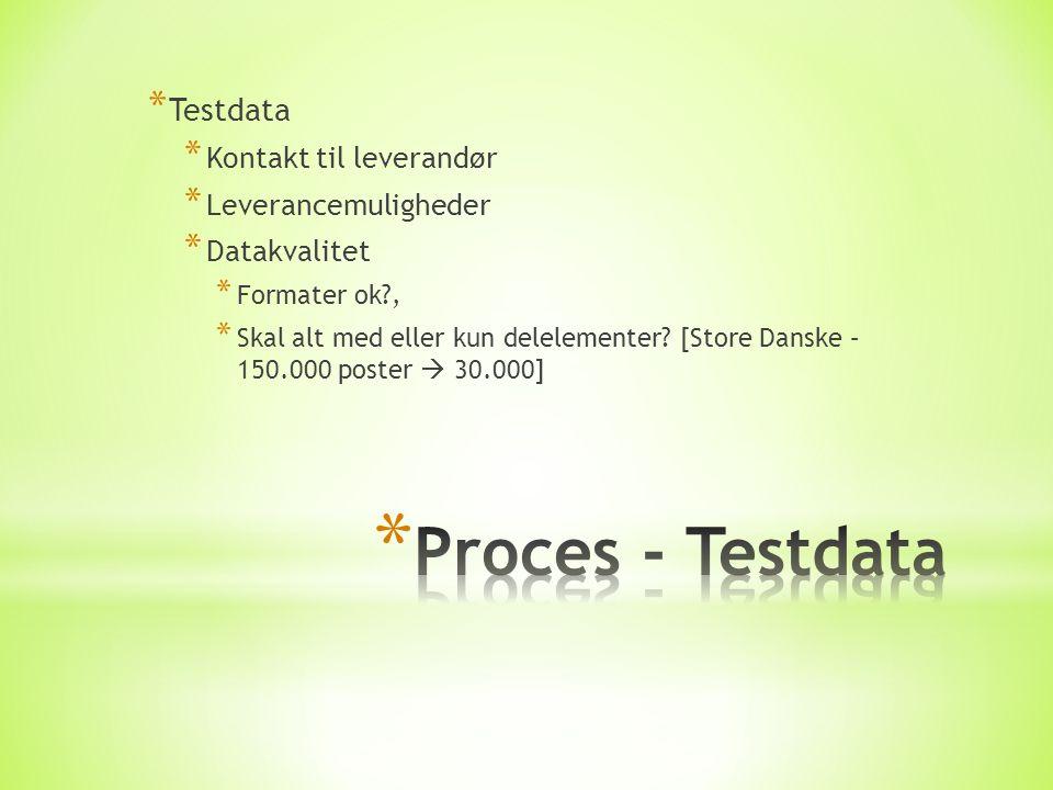 * Testdata * Kontakt til leverandør * Leverancemuligheder * Datakvalitet * Formater ok , * Skal alt med eller kun delelementer.