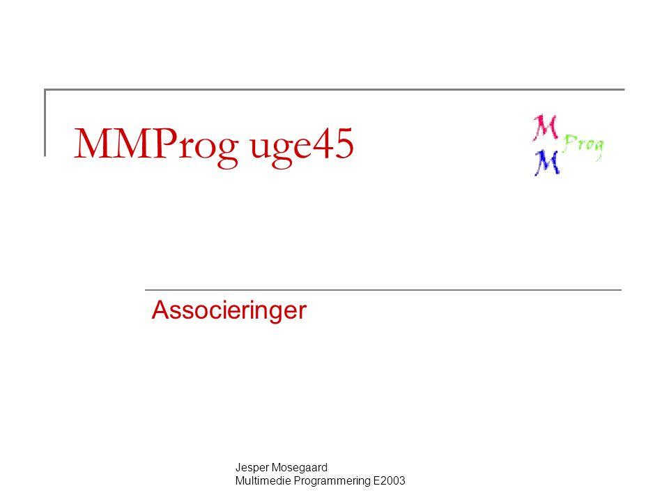 Jesper Mosegaard Multimedie Programmering E2003 MMProg uge45 Associeringer