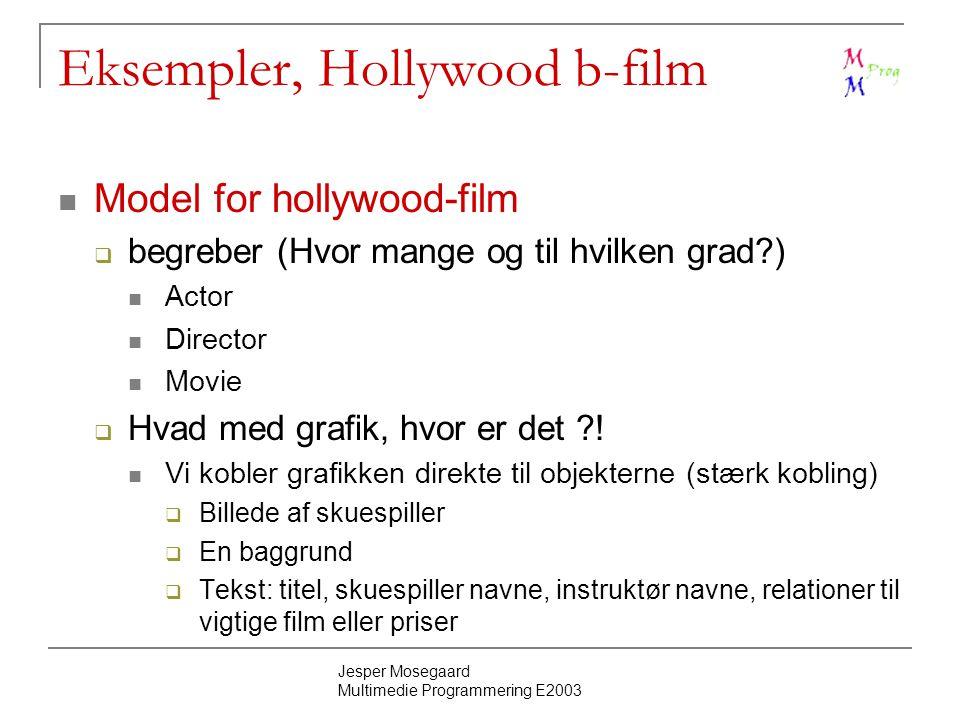 Jesper Mosegaard Multimedie Programmering E2003 Eksempler, Hollywood b-film Model for hollywood-film  begreber (Hvor mange og til hvilken grad ) Actor Director Movie  Hvad med grafik, hvor er det .