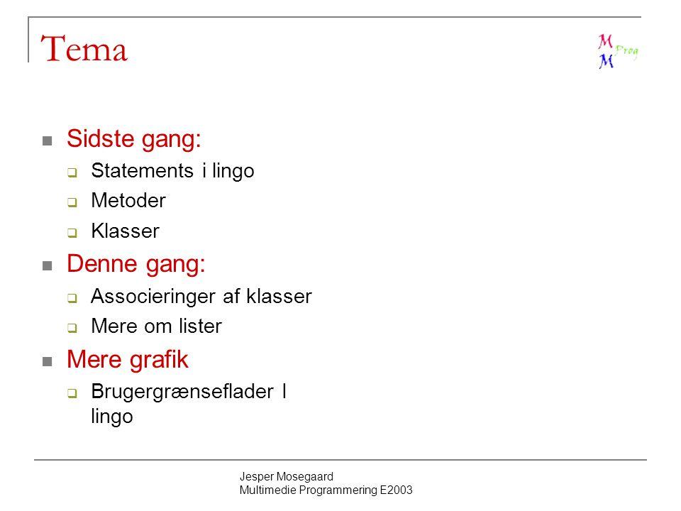 Jesper Mosegaard Multimedie Programmering E2003 Tema Sidste gang:  Statements i lingo  Metoder  Klasser Denne gang:  Associeringer af klasser  Mere om lister Mere grafik  Brugergrænseflader I lingo