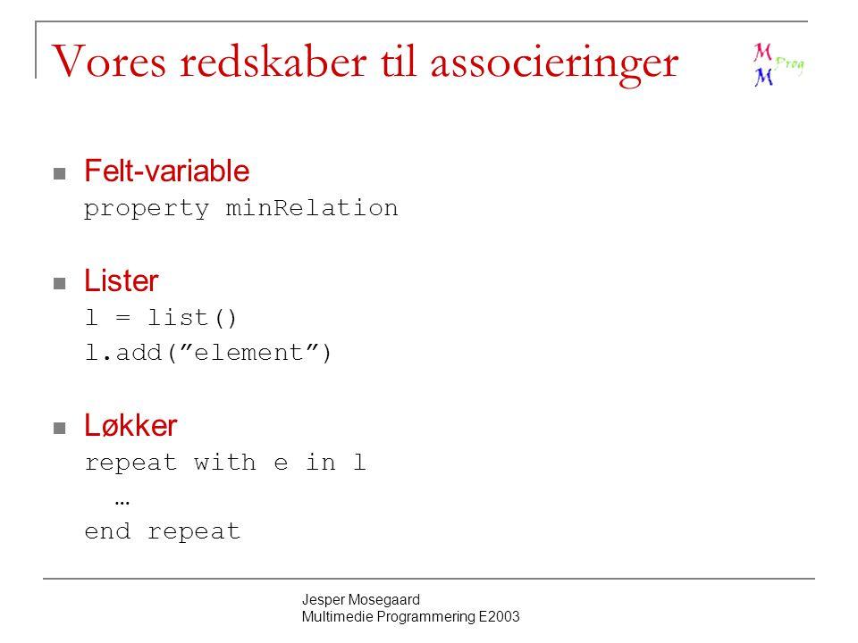 Jesper Mosegaard Multimedie Programmering E2003 Vores redskaber til associeringer Felt-variable property minRelation Lister l = list() l.add( element ) Løkker repeat with e in l … end repeat