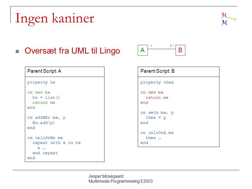 Jesper Mosegaard Multimedie Programmering E2003 Ingen kaniner Oversæt fra UML til Lingo AB 0..* Parent Script: A property bs on new me bs = list() return me end on addBEr me, p Bs.add(p) end on calcOnBs me repeat with e in bs e … end repeat end 1 Parent Script: B property thea on new me return me end on setA me, p thea = p end on calcOnA me thea … end