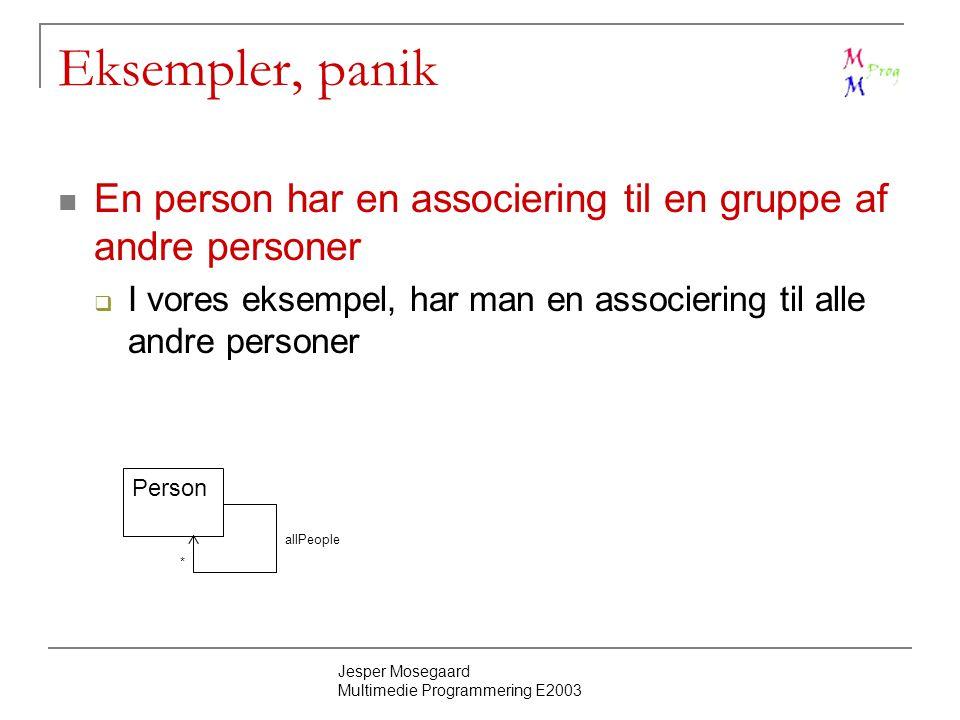 Jesper Mosegaard Multimedie Programmering E2003 Eksempler, panik En person har en associering til en gruppe af andre personer  I vores eksempel, har man en associering til alle andre personer Person allPeople *