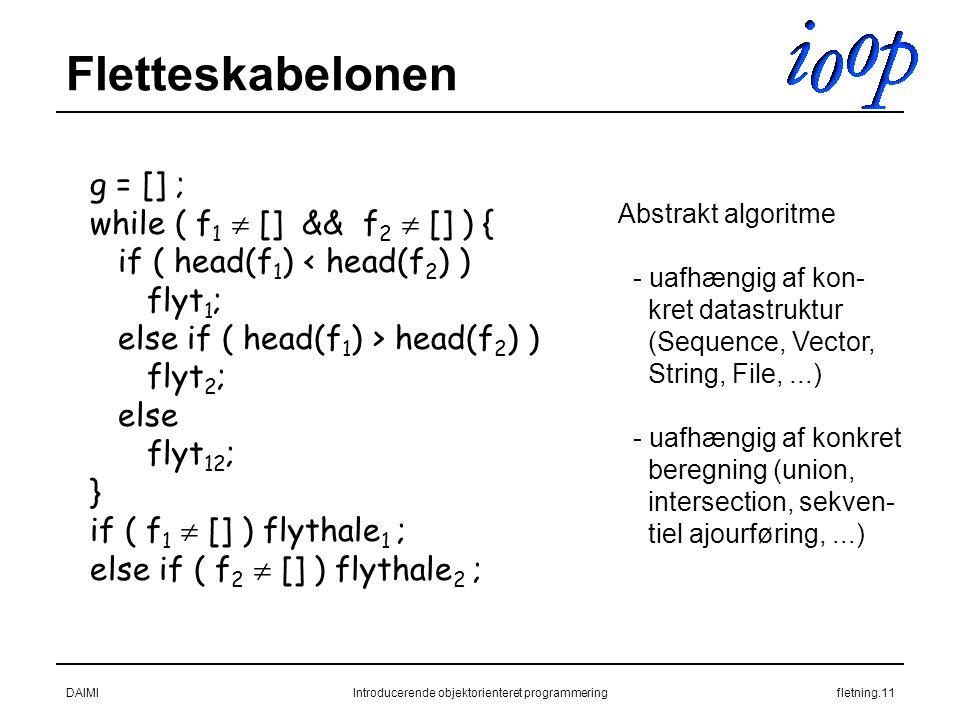 DAIMIIntroducerende objektorienteret programmeringfletning.11 Fletteskabelonen g = [] ; while ( f 1  [] && f 2  [] ) { if ( head(f 1 ) < head(f 2 ) ) flyt 1 ; else if ( head(f 1 ) > head(f 2 ) ) flyt 2 ; else flyt 12 ; } if ( f 1  [] ) flythale 1 ; else if ( f 2  [] ) flythale 2 ; Abstrakt algoritme - uafhængig af kon- kret datastruktur (Sequence, Vector, String, File,...) - uafhængig af konkret beregning (union, intersection, sekven- tiel ajourføring,...)