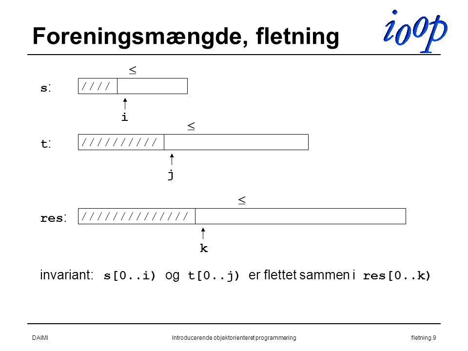 DAIMIIntroducerende objektorienteret programmeringfletning.9 Foreningsmængde, fletning s:s: t:t: res : i j k invariant: s[0..i) og t[0..j) er flettet sammen i res[0..k)   