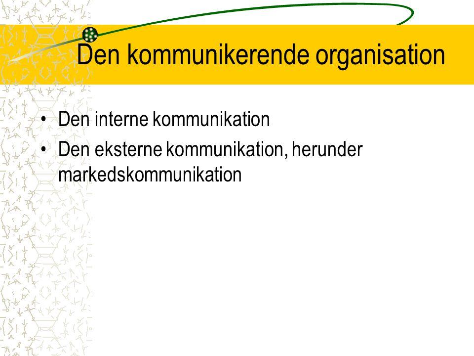 Den kommunikerende organisation Den interne kommunikation Den eksterne kommunikation, herunder markedskommunikation